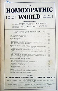 The Homoeopathic World, december,1931