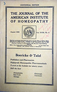 The Journal of the American Institute of Homeopathy, august 1925