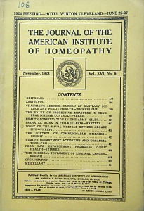 The Journal of the American Institute of Homeopathy, november 1923